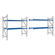 Palletrek PR 350, compleet rek 5,4 m, 1 basis- en 1 aanbouwdeel, 2 niveaus, H 2500 x B 5400 x D 1050 mm, dwarsbalk.