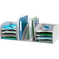 Paperflow Schreibtisch-Organizer, 8 Fächer, Trennelemente verstellbar, grau