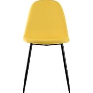 Paperflow shell stoel, gestoffeerd, 100% polyester, stalen frame, zithoogte 480 mm, set van 2, zwart/saffron