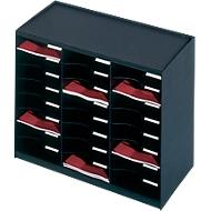PAPERFLOW Sortierstation, DIN A4, Polystyrol, 24 Fächer, schwarz