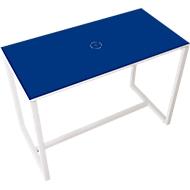 Paperflow Stehtisch Easy Desk, aus Metall, mit Bodenausgleichsschrauben, H 1100 mm, desinfektionsmittelbeständig, blau/weiß