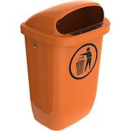 Papierkorb, Volumen 50 l, entspricht DIN 30713, mit Deckel, B 430 x T 310 x H 750 mm, Niederdruck-Polyethylen,  orange