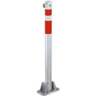 Parkeerpaal met brandweer-driekantslot, rood-wit