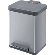 Pedaal-vuilnisemmer, Hailo Eco Duo Plus M, 2 x 9 l, rechthoekig, plaatstaal, zilver