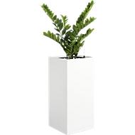 Pflanzgefäß, m. Kunststoffeinsatz/Füllstoff, m. Kunststeinen, mit Kunstpflanze, altweiß