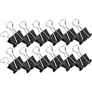Pinces double clip, 19 mm, noir, 12 pièces
