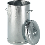Plaatstalen afvalbak, met deksel, 60 liter, Ø 380 x h 630 mm