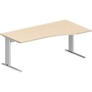 PLANOVA BASIC bureau, C-onderstel, vrije vorm, aanbouw rechts, b 1800 x d 800/1000 mm, ahorndecor, onderstel witalu