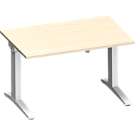PLANOVA ergoSTYLE bureau, C-onderstel, rechthoekig, 1-traps elektr. hoogteverstelbaar, b 1200 mm, ahorndecor/wit