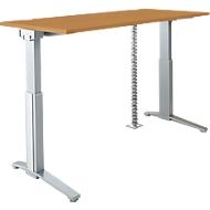 PLANOVA ERGOSTYLE bureautafel, elektr. in hoogte verstelbaar B 1600 mm + accentstrips + kabelslang GRATIS, beukenpatroon