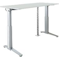 PLANOVA ERGOSTYLE bureautafel, elektr. in hoogte verstelbaar B 1600 mm + accentstrips + kabelslang GRATIS, lichtgrijs