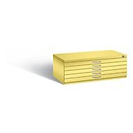Planschrank aus Stahl, für Formate bis DIN A1, 5 Schubladen, gelb