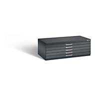 Planschrank aus Stahl, für Formate bis DIN A1, 5 Schubladen, schwarzgrau
