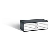 Planschrank aus Stahl, für Formate bis DIN A1, 5 Schubladen, schwarzgrau/verkehrsweiß