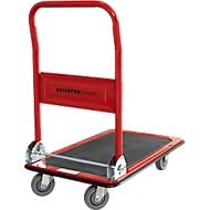 Plateauwagen, inklapare duwbeugel, L 725 x B 475 mm, draagvermogen 150 kg, rood