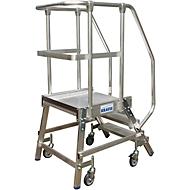 Platformladder, verrijdbaar, eenzijdig, 3 treden (geleverd zonder armleuningen)