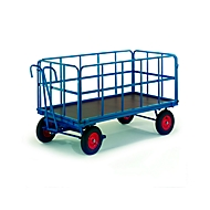 Platformvrachtwagen met vakwerkwanden, massief rubberen wielen, 930 x 630 mm, met buisvormige traliewanden.