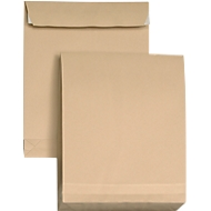 Pochettes à soufflet brunes, C4, 324 x 229 mm, avec patte auto adhésive, paquet de 5 pièces
