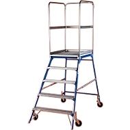 Podestleiter, frei rollbar, einseitig, Stufen Gitterrost, Gr. 5, einseitig, 51 kg