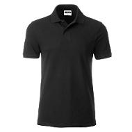 Poloshirt Herren Men's Basic, Biobaumwolle, 4-Knopfleiste, Werbedruck, black, Gr. XL