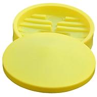 Polyetheen vattrechter, Ø 640 mm, 48 liter, met afneembaar deksel, voor IBC tanks van 100 liter, met zeef, geel