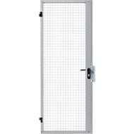 Porte à battant simple, pour cloisonnement grillagé, largeur 850 x hauteur 2070 mm, gonds droite/gauche, argent clair