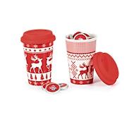 Porzellanbecher Rentier, 350 ml, mit Silikondeckel, gefüllt mit 25 Weihnachtstalern, 2er-Set