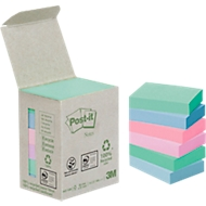 POST-IT Haftnotizen, recycling Papier, 51 mm x 38 mm, 6x100 Blatt, farbig