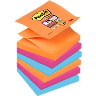 Post-it Notes adhésives Z-Notes Super Sticky , 76 x 76 mm,orange fluo, rose ultra,ultra bleu, 6 blocs/lot