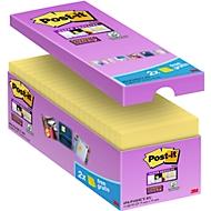 Post-it® Notes Super sticky, 76 x 76 mm, jaune, pack avantageux 14 + 2 gratuits