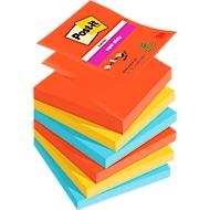 Post-it® Notes Z-Notes Super Sticky, Bora Bora R3306SJ (rouge pavot, vert fluo, bleu ultra), 90 feuillets, 6 blocs/lot