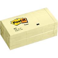 Post-it® notitieblokken 653, 100 blaadjes, 51 x 38 mm, geel, 12 blokken