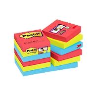 Post-it® Super Sticky Notes  Bora Bora, réf. fabricant 62212SJ, 51x  51 mm, 12 blocs de 90 feuillets