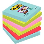 Post-it® Super Sticky notes, MIAMI collectie, 6546 SMI,  76 x 76 mm, 6 blokken van 90 velletjes