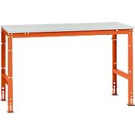 Poste de travail modulaire Manuflex UNIVERSAL Standard, plateau de table mélamine, 1500x800, orangé rouge