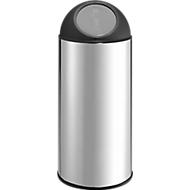 Poubelle à couvercle basculant , 30 litres, Ø 300 x H 720 mm, en inox, couvercle en plastique et en inox