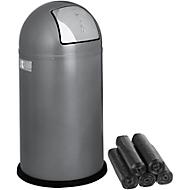 Poubelle Pushboy WESCO, 50 litres, Ø 390 x H 755 mm, argent + 15 sacs poubelle, Secolan® GRATUITS