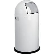 Poubelle Pushboy WESCO, 50 litres, Ø 390 x H 755 mm, blanc