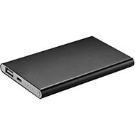 Powerbank, 4.000 mAh, USB + Micro-USB, Aluminium, extra flach, schwarz, inkl. einfarbige Werbeanbringung