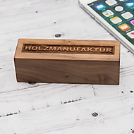 Powerbank Q-Pack Timber Square 2.600 mAh Lithium Polymer Akku , Gehäuse aus Schwarzwälder Holz