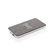 Powerbank Vogue, Qi-kompatibel, USB 2.0, 5 W, silbern mit grauem Stoffbezug