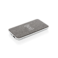 Powerbank Vogue, Qi-kompatibel, USB 2.0, 5 W, Werbedruck 50 x 30 mm, silbern mit grauem Stoffbezug