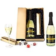"""Präsent """"Gold für die Besten"""", 1 Flasche Sekt mit Blattgold 22 C, 100 g gem. Trüffel + Pralinen"""