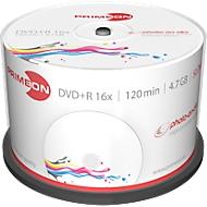 PRIMEON DVD+R, bedrukbaar, tot 16-voudig, 4,7 GB/120 min, spindel met 50 stuks