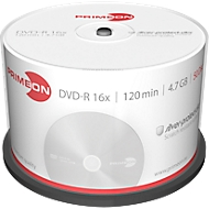 PRIMEON DVD-R, tot 16-voudig, 4,7 GB/120 min, spindel met 50 stuks
