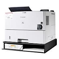 Printerstandaard, van gesatineerd plexiglas, 2 opbergvakken, B 500 x D 490/470 x H 77 mm