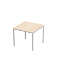 PROPLANA bureautafel, 4-poot, rechthoekig, B 800 x D 800 x H 720 mm, ahorndecor/blank alu