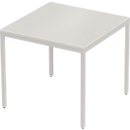 PROPLANA bureautafel, 4-poot, rechthoekig, B 800 x D 800 x H 720 mm, lichtgrijs/blank alu