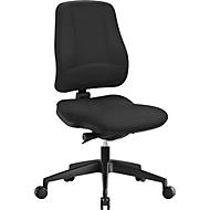 Prosedia Bürostuhl LEANOS V KOMFORT, Synchronmechanik, ohne Armlehnen, Lordosenstütze, Knierolle, schwarz/schwarz