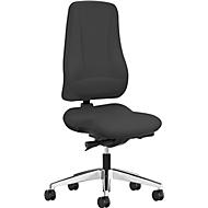 Prosedia bureaustoel LEANOS V KOMFORT, synchroonmechanisme, zonder armleuningen, hoge rugleuning, zwart/aluminium gepolijst